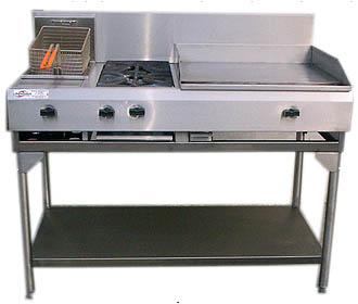 Cocina industrial con plancha hornos estufa y freidora for Estufa industrial con horno